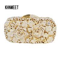 LaiSC Gold Evening Bags Luxury Crystal Evening Clutch Bags Rose Flower Shape Women Pochette Soiree Purse