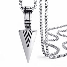 Cool Arrow Pendant Fashion Pendant 316L Stainless Steel Cool Silver Arrow Pendant With Necklace(China)