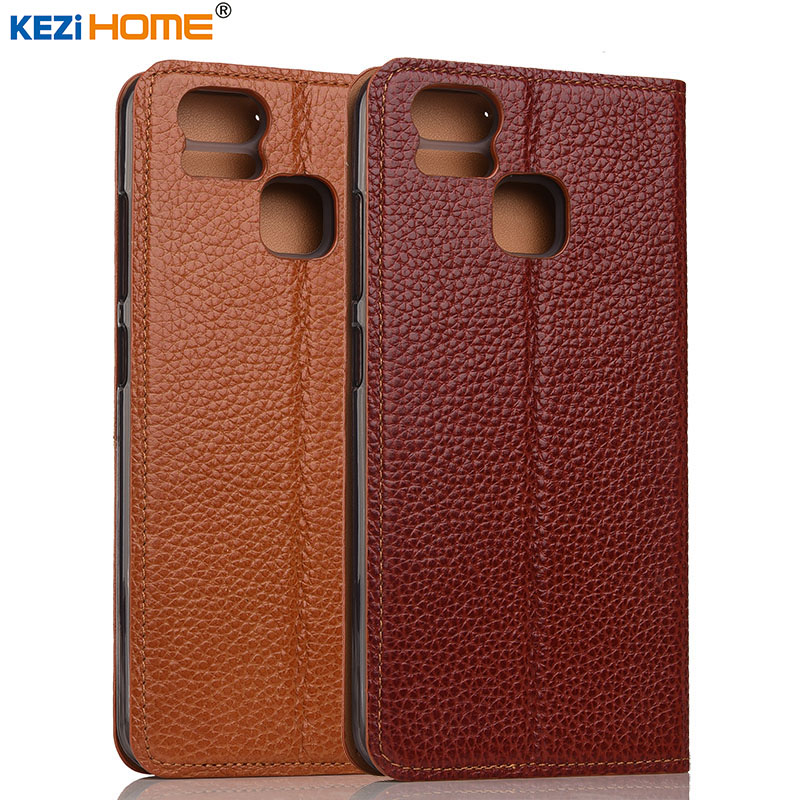imágenes para Asus zenfone 3 caso zoom KEZiHOME Litchi Cuero Genuino Cuero Del Soporte Del Tirón cajas Del Teléfono Cubierta capa Para ASUS ZE553KL coque