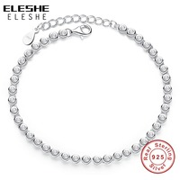ELESHE Authentic 925 Sterling Silver Bracelet Tennis Sparkling Strand Adjust Bracelet Bangle For Women Bead Charm