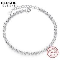 ELESHE Authentic 925 Sterling Silver Bracelet Tennis Sparkling Strand Adjust Bracelet Bangle For Women Bead Charm