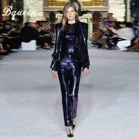 Bqueen Мода v образным вырезом блестками заклепки сексуальные брюки костюмы комплект блейзеры Формальные для женщин Элегантный Тощий 2 шт. наб
