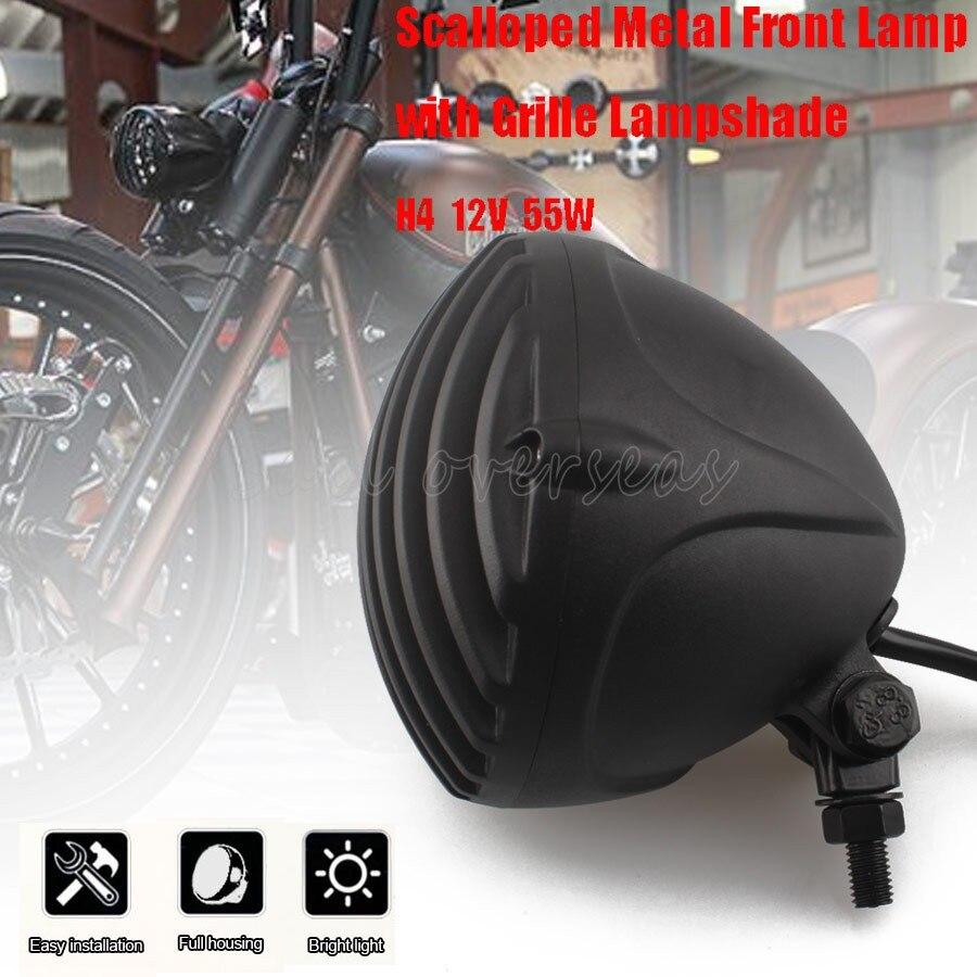 Schwarz Old Schule Scalloped Vintage Retro Aluminium Rippen Grill Klar Objektiv H4 Scheinwerfer Für Harley Cafe Chopper Bobber Racer