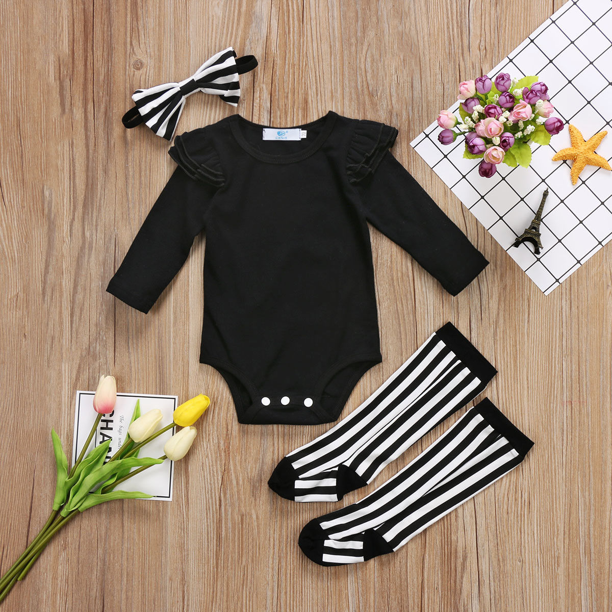 Newborn Baby Girls Triangle Romper And Leggings Socks Headband Outfits Set Clothes Res
