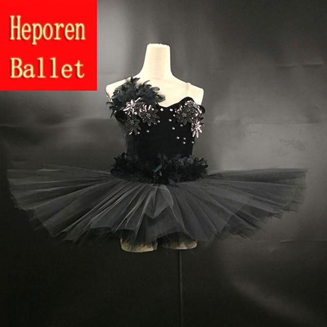 51664fe3c02b Professional Custom Made Black Swan Lake Feather Ballet Dress Women ...