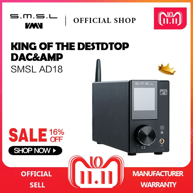 SMSL AD18 HI-FI Audio Stereo Amplifier with Bluetooth 4.2 Supports Apt-X,USB DSP Full Digital Power Amplifier 2.1 for Speaker усилитель smsl ad18 black