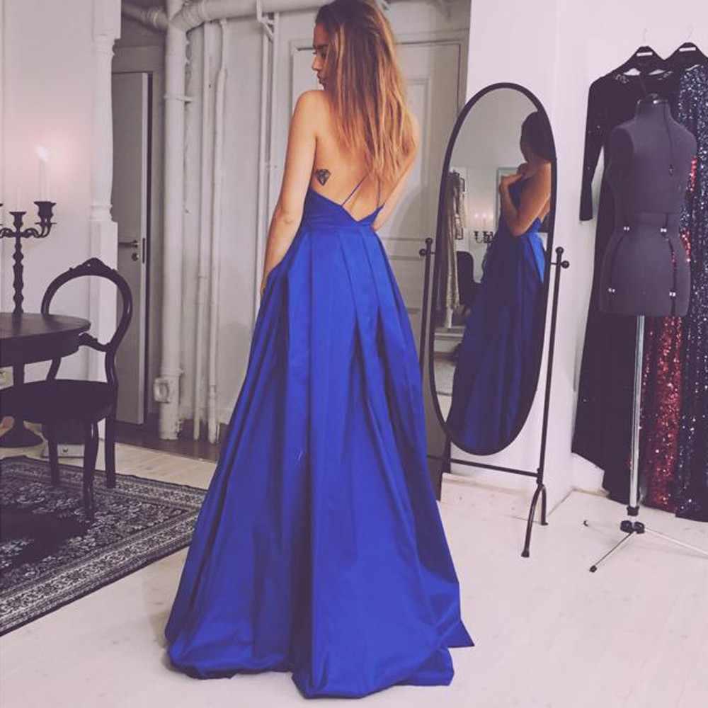 Синее вечернее платье 2019 трапециевидной формы из сатина с бретельках длинное платье на выпускной вечерние платье с разрезом Длинные вечерние платья без рукавов платья