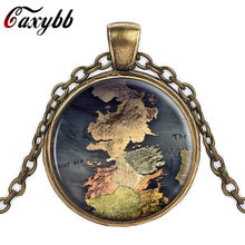 The Game Of Thrones Map Jewelry Westeros Map Pendant Movie Game Of Thrones Necklace A Song of Ice and Fire Jewelry Vintage(China)