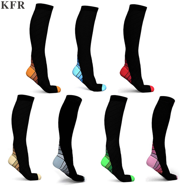 KFR Fashion New Men Compression Socks Fit Breathable Long Socks for Male Travel Boost Stamina Flexible Polyester Sports Sock