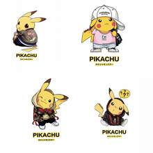 Pikachu Patch Ijzer op Transfer voor Kleding DIY T-Shirt Applique Pokemon Warmteoverdracht Vinyl Patches Stickers op Rugzak badges(China)