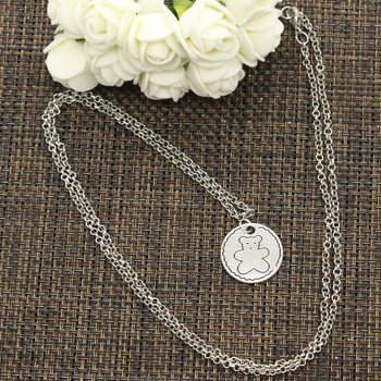 New Fashion Circle Bear Pendants Round Cross Chain Short Long Mens Womens DIY Silver Color Necklace Jewelry Gift 3