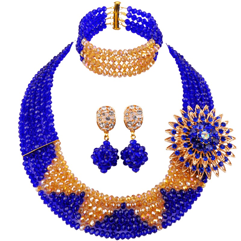 Wedding Beads Purple Gold Color Nigerian Bridal Jewellery Sets for Women 5C-SZ-25