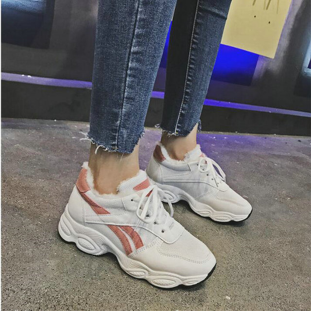 2019 зима-осень кроссовки на платформе Модные Корейская женская повседневная обувь зимние теплые с мехом женские tenis feminino UU-95