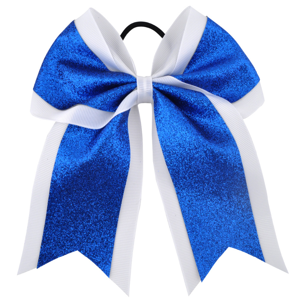 7 Inch Fashion Sequin Cheerleading Hair Bow Glitter Grosgrain Ribbon Bows Elastic Band Ponytail Hair Holder For Girls And Wome