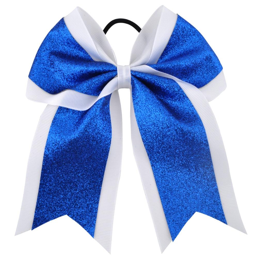 7 Inch Fashion Sequin Cheerleading Hair Bow Glitter Grosgrain Ribbon Bows Elastic Band P ...