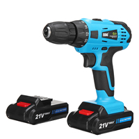 Electric Screwdriver Cordless Drill Impact Drill Power Driver 21 Volt Max DC Lithium Ion Battery 2 Speed with LED Light