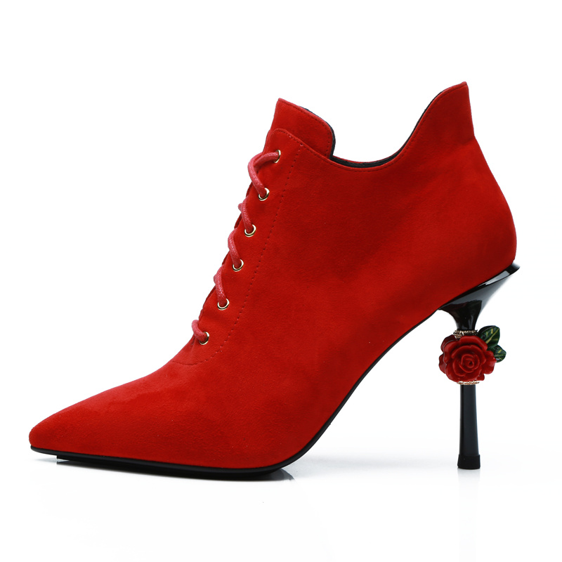 Women Pumps Red Flower Decor High Thin Heel Women Shoes Pointed Toe Suede Woman Stiletto Lace Up Shoes Sapato Feminino Chic Heel fashion suede leather heeled sandals pointed toe lace up women pumps spikle high heel women shoes zapatos mujer