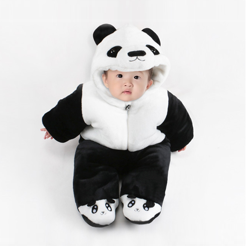 Warm Baby Rompers Winter Baby Clothing for Newborns Flannel Costume Baby Cotton-padded Overalls Jumpsuits Panda Boy Girl Clothes 1pcs cute baby panda animal coverall clothing cotton padded winter footies n01