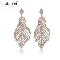 Teemi New Arrival Statement Luxurious Big Long Micro Paved CZ Crystal Feather Drop Earrings For Women