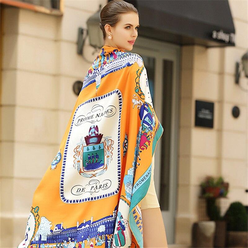 100% Twill di Seta Donne Sciarpa Moda Eur Passeggiata Paris Stampa Piazza Sciarpe Involucri Fascia Marca Regalo di Lusso di Grandi Dimensioni Scialle Hijab