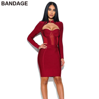 Drop shipping 2018 HL Bodycon Bandage Party Dress Sexy Club Wear Burgundy Long Sleeve Wholesale Uk for Women with Mesh Detail