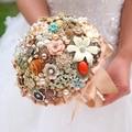 Золотой урожай брошь букет ювелирные изделия Ручной Работы кристалл Золота Настраиваемый Свадебные букеты Невесты Букет Моды личности