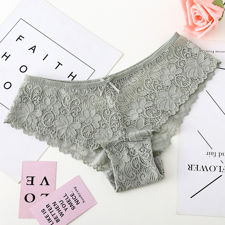 3pcs/lot, Sexy Lace Panties, Women's Fashion Cozy Lingerie, Tempting Pretty Briefs, Cotton Low Waist, Cute Women Underwear 23