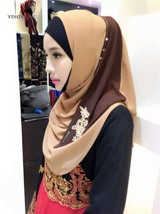 Image 5 - Hijab en mousseline de soie pour femmes musulmanes, foulard à capuche, Bandanas, casquette, châle, Abaya, couvre chef arabe islamique (sans sous vêtements)