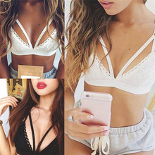 White Strappy Bra Top Halter Lace Bralette Sexy Cotton Female Brand Fashion Unpadded Brassiere Lingerie For Ladies