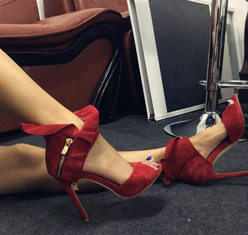 2017 New Women Style Ankle Wrap Suede Sandals Gorgeous Open Toe Cut-Outs Thin High Heels Lady Ruffles Decoration Party Sandals summer new fashion ankle wrap glitter sandals sexy open toe cut outs high heels women ruffles decoration gladiator sandals
