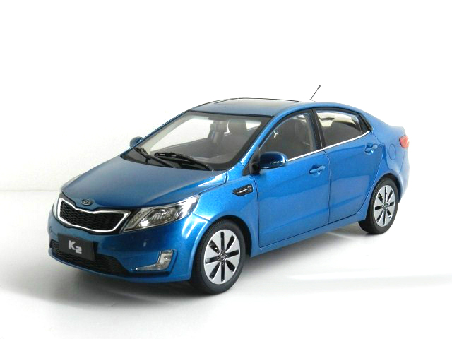1:18 Diecast Model for Kia K2 Rio 2011 Blue Alloy Toy Car Miniature Collection Gifts fine special offer jc wings 1 200 xx2457 portuguese air b737 300 algarve alloy aircraft model collection model holiday gifts