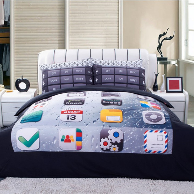 Высокое качество Постельное белье 4 шт. 3D клавиатуру телефона принт королева одеяло Постельное бельё Набор пододеяльников для пуховых одеял кровать Простыни Наволочки домашний текстиль
