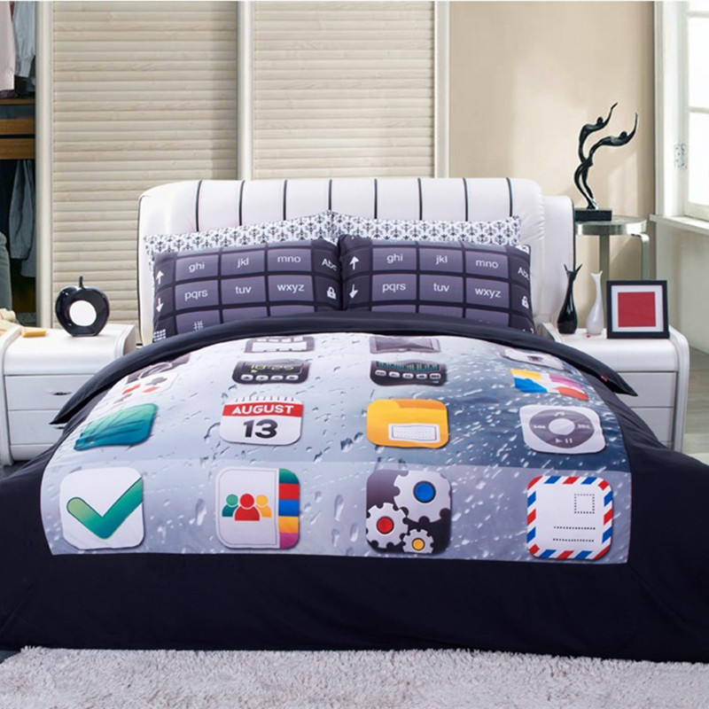High quality Bedding Set 4PCS 3d phone keypad Print queen comforter Bedding Sets Duvet Cover Bed Sheet Pillow Case Home textileHigh quality Bedding Set 4PCS 3d phone keypad Print queen comforter Bedding Sets Duvet Cover Bed Sheet Pillow Case Home textile