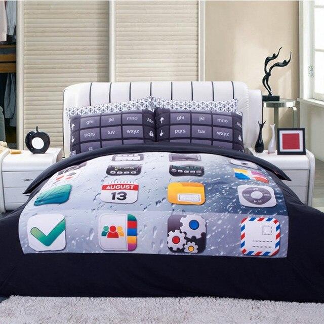 High quality Bedding Set 4PCS 3d phone keypad Print queen comforter Bedding Sets Duvet Cover Bed Sheet Pillow Case Home textile