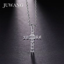 JUWANG Wholesale Sliver Color Cross Pendant Necklace Religious Rhinestone Jewely For Woman Men Fashion Jewelry