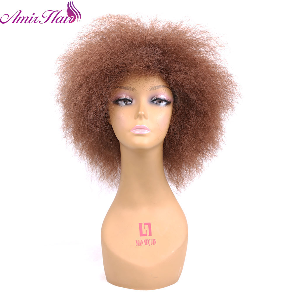 Amir Hair short Curly Wig African American Short Wigs For Black Women Ombre Red Blonde Black Cosplay Party