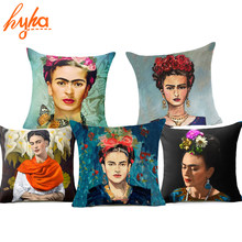 Hyha Frida Kahlo Polyester Cushion Cover Self-portrait 43X43cm Pillow Case Home Decorative Pillows Cover For Sofa Car Cojines(China)