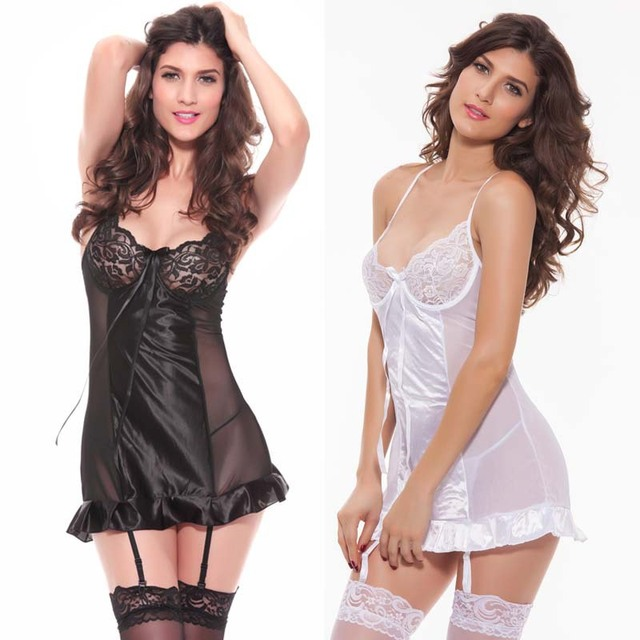 2a545ee7e1250 Black White Lady Nighties Bra Slip Satin Nightgown Lace Halter Night Dress Sexy  Lingerie Support Gather