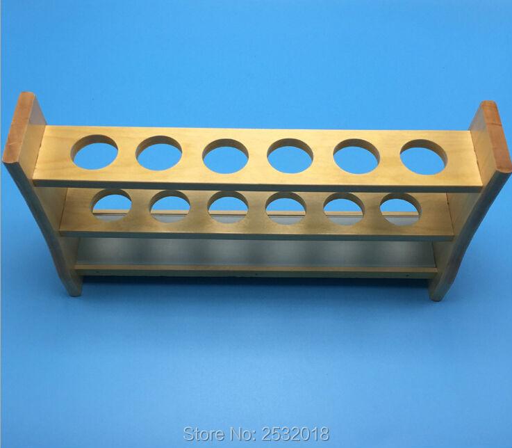 Rak Uji Tabung Kayu, 6 Lubang dan Pin-Kayu Solid, kotak tabung.
