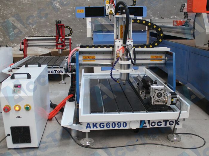 Acctek Desktop Cnc 6090 4 Axis /6012 For Wood/acrylic/stone/aluminum/metal With Rotary Device Water Tank Cooling
