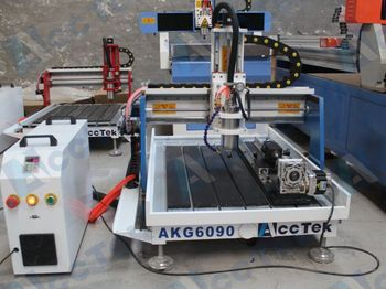 Acctek desktop cnc 6090 4 axis /6012 for wood/acrylic/stone/aluminum/metal with rotary device water tank cooling cnc 6090 1500w 3 axis cnc router engraver for metal wood pcb acrylic