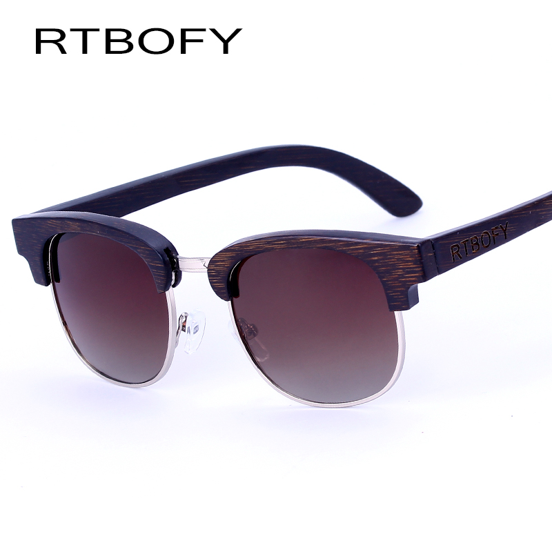 RTBOFY Wood Sunglasses Brand Designer Bamboo Sun Glasses For Men Oversized Mirrored Goggles Shades lunette