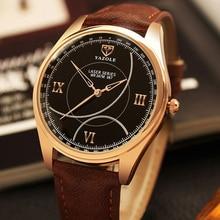 YAZOLE Hommes Montre De Luxe Top Marque d'affaires Homme Horloge À Quartz-Montre-Bracelet de Loisirs De Mode En Cuir quartz montre Relogios Masculino