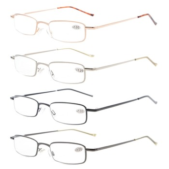 R15020 Eyekepper 4-Pack Compact Spring Temple Reading Glasses with Portable Pocket Clip Aluminum Case  +0.50—+4.00