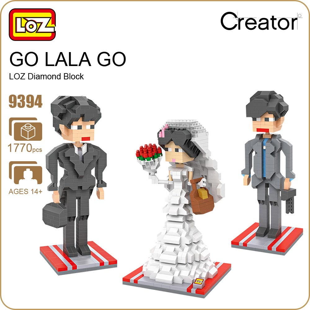 LOZ ideas Diamond Block GO LALA GO Wedding Model TV Building Blocks Toy Cute Mini Doll DIY Toys Movie Figure Super Star 9394 loz mini blocks batman robin ironman thor loki harley quinn poison mini super hero bricks diy building blocks toys gift