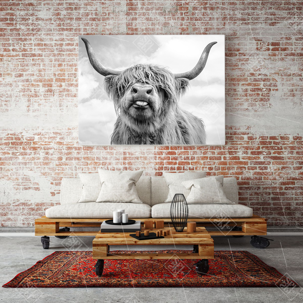 Modern Home Decoration Poster Highland Cow Animals Canvas Painting Hd Print Farm Cattle Wall Art Picture For Living Room in Painting Calligraphy from Home Garden