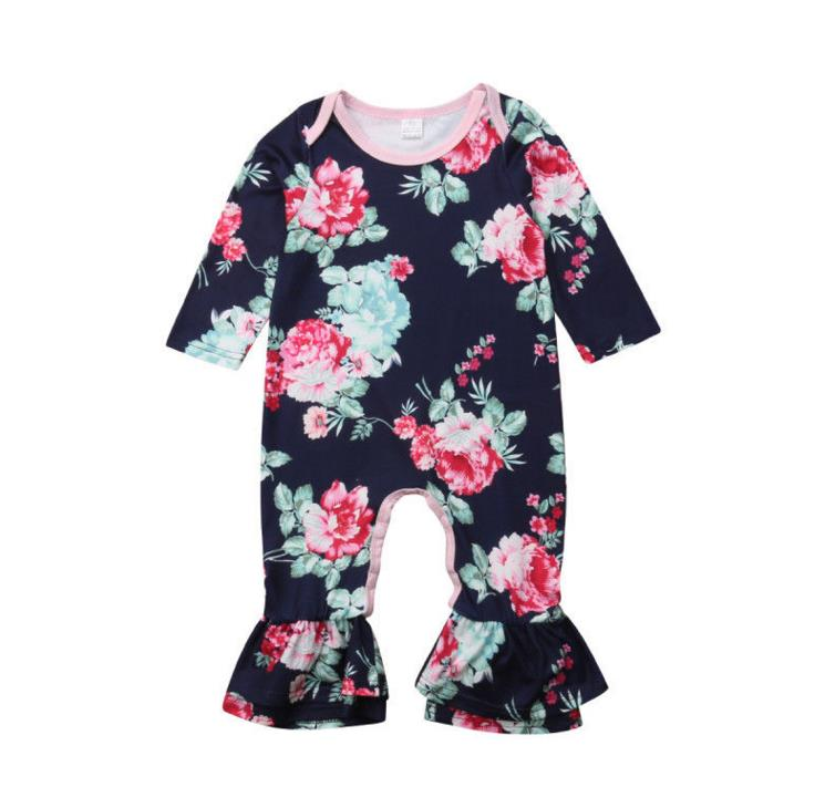 Newborn Baby Girl Clothing Flower Ruffle   Romper   Long Sleeve Cotton Warm Jumpsuit Autumn Outfits Clothes Baby Girls 0-24M
