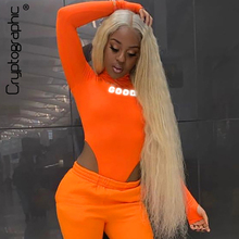 Cryptographic Holographic Letters Round Neck Womens Bodysuit Fashion Neon Long Sleeve Sexy High-Cut Bodysuits Female Skinny