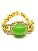 Léopard Strass 18 k Or Plaqué Femmes Bijoux De Mariage Vert Jade Bracelet Bracelet