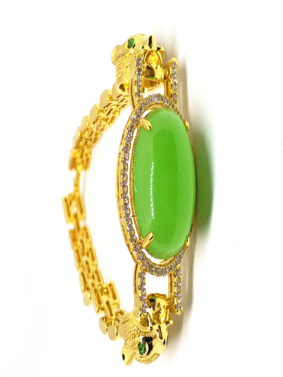 Leopard Rhinestone 18k Gold Plated Women Wedding Jewelry Green Jade Bangle Bracelet multilayered gold plated textured rhinestone strand bracelet